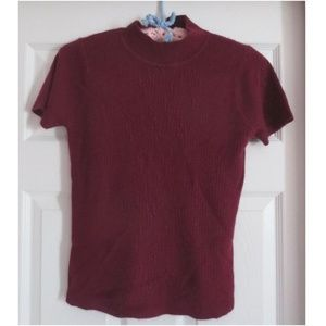 Villager Petite Wine Short Sleeve Sweater